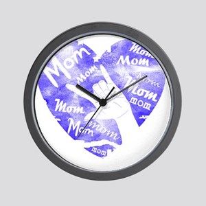 love_you_mom_blue Wall Clock