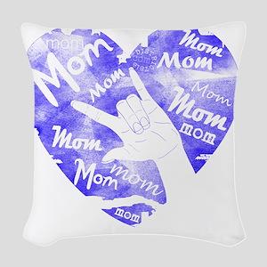 love_you_mom_blue Woven Throw Pillow