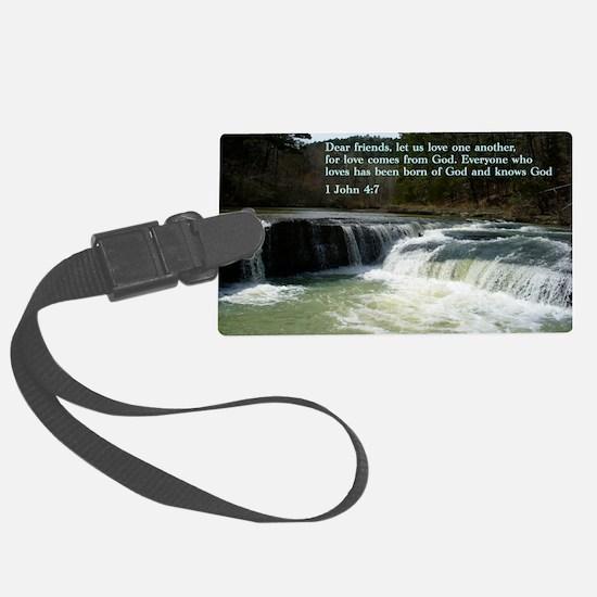 1 John 4-7  Waterfall Luggage Tag