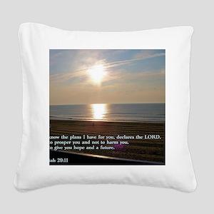 Jeremiah 29-11 Sunrise Square Canvas Pillow