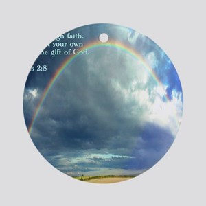 Ephesians 2-8  Rainbow Round Ornament