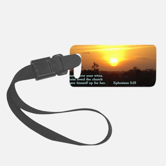 Ephesians 5-25  Sunset Small Luggage Tag