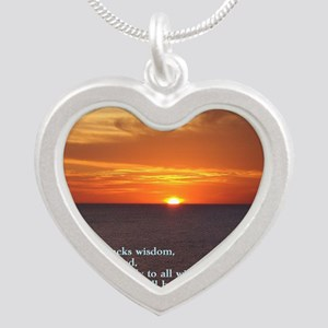 James 1-5  Sunset Silver Heart Necklace