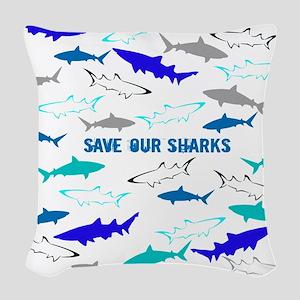 shark collage Woven Throw Pillow