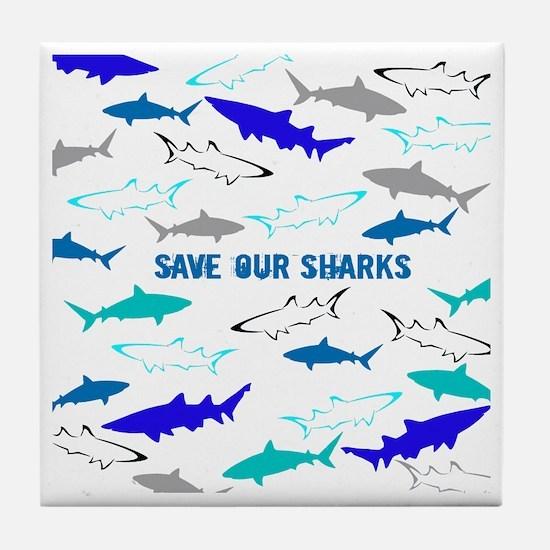 shark collage Tile Coaster