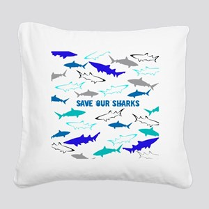 shark collage Square Canvas Pillow