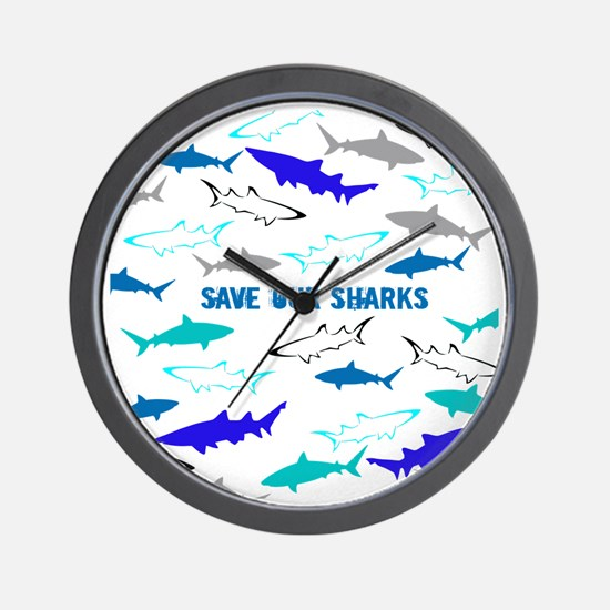 shark collage Wall Clock