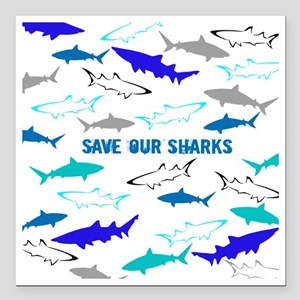 "shark collage Square Car Magnet 3"" x 3"""