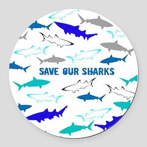shark collage Round Car Magnet