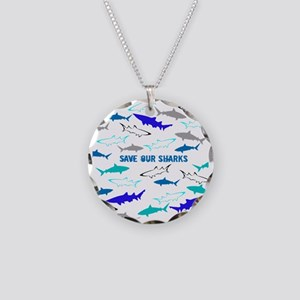 shark collage Necklace Circle Charm