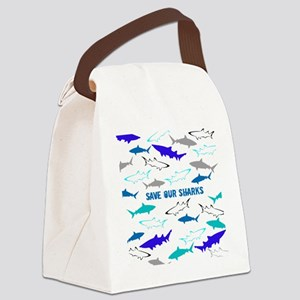shark collage Canvas Lunch Bag