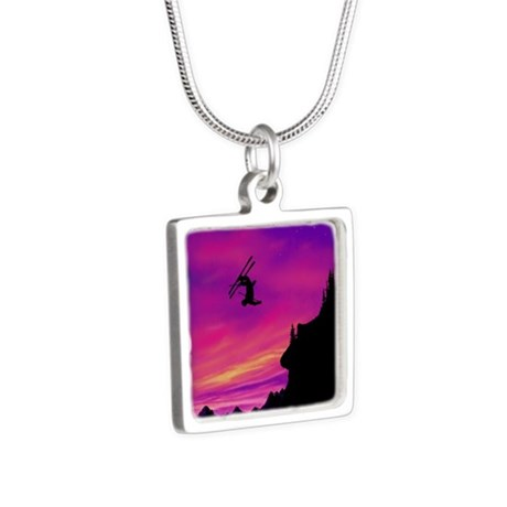 Stunt Skier Silver Square Necklace