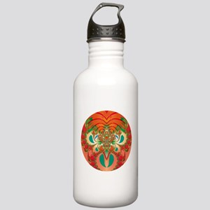 Abstract Art Red Owl Water Bottle