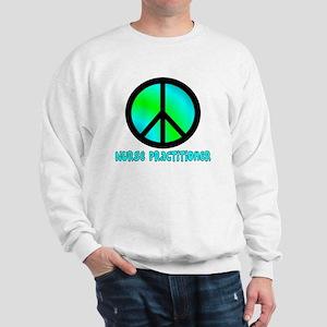 Nurse Practitioner blue Peace sign Sweatshirt