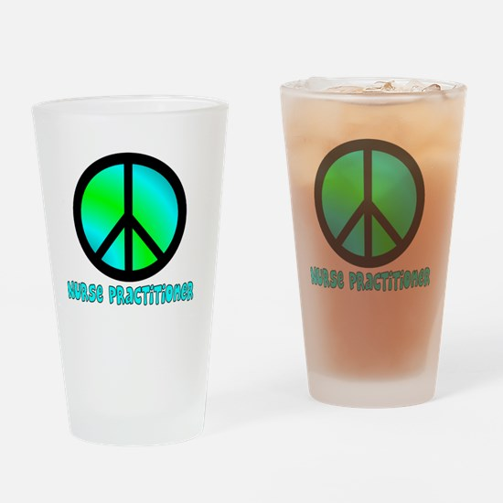 Nurse Practitioner blue Peace sign Drinking Glass