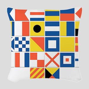 Nautical Flags Woven Throw Pillow