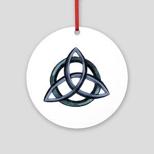 Triquetra Blue Round Ornament