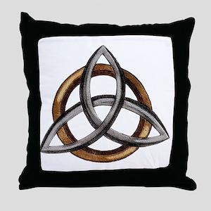 Triquetra Brown/Silver Throw Pillow