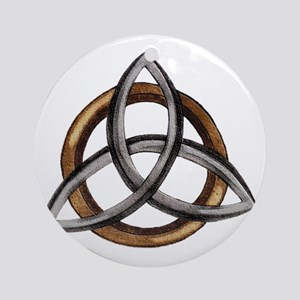 Triquetra Brown/Silver Round Ornament