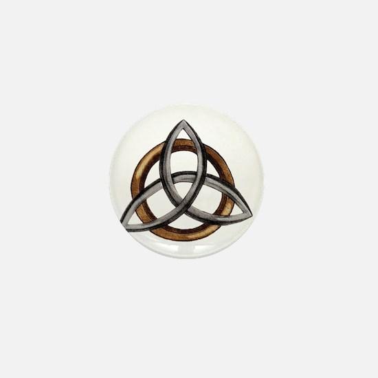 Triquetra Brown/Silver Mini Button