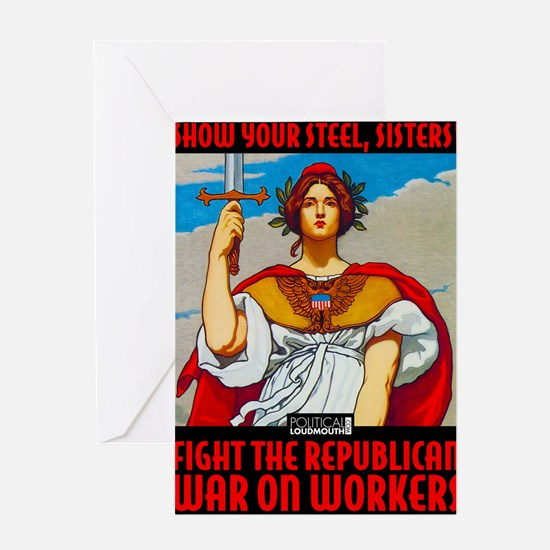 WAR WORKERS STEEL CAFE Greeting Card