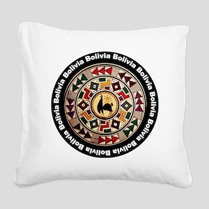 bolivia-llama-andes-round Square Canvas Pillow