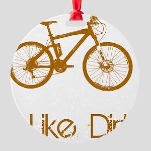 Mountain Bike Dirt Brown Round Ornament