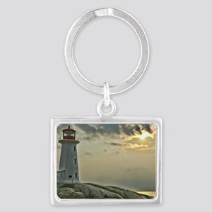 lighthouse_close_postcard Landscape Keychain