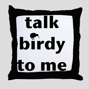 Talk birdy black Throw Pillow