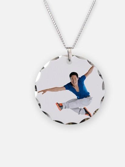 dance5_wht Necklace Circle Charm