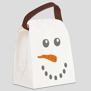 Snowman Face Canvas Lunch Bag