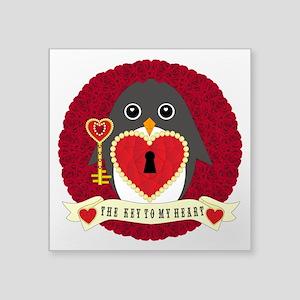 "Key To My Heartguin Square Sticker 3"" x 3"""
