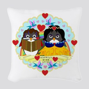 Happily Ever Afterguins Woven Throw Pillow