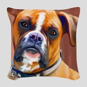 Boxer1-sq Woven Throw Pillow