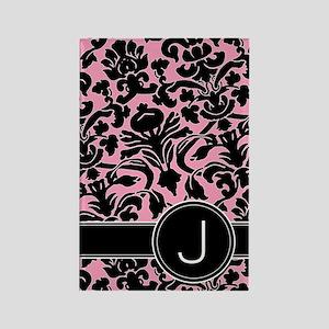 441_black_pink_J Rectangle Magnet
