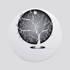 Lung-Cancer-Tree-blk Round Ornament