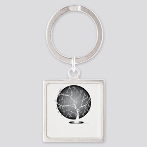 Lung-Cancer-Tree-blk Square Keychain