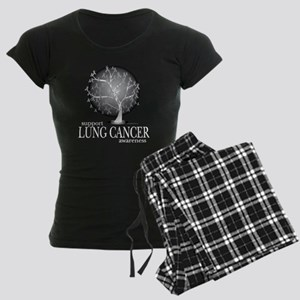 Lung-Cancer-Tree-blk Women's Dark Pajamas