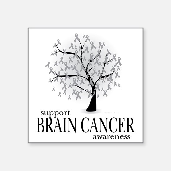 "Brain-Cancer-Tree Square Sticker 3"" x 3"""