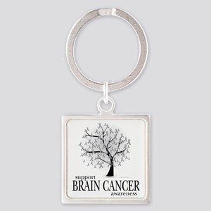 Brain-Cancer-Tree Square Keychain