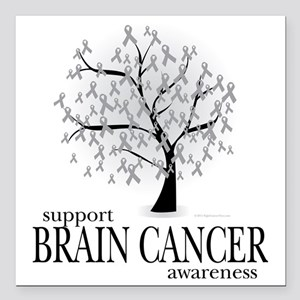 "Brain-Cancer-Tree Square Car Magnet 3"" x 3"""