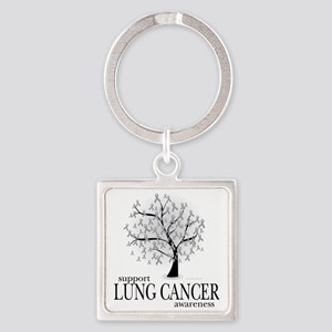 Lung-Cancer-Tree Square Keychain