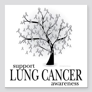 """Lung-Cancer-Tree Square Car Magnet 3"""" x 3"""""""