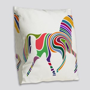 Cute Horse Burlap Throw Pillow