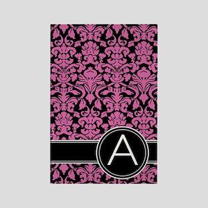 Damask Pink Black Letter A Rectangle Magnet