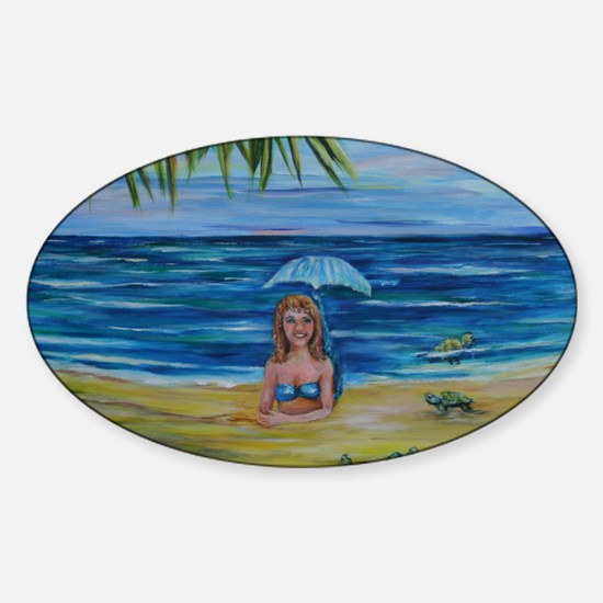 Mermaid and hatching sea turtles 6x Sticker (Oval)