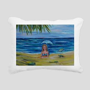 Mermaid and hatching sea Rectangular Canvas Pillow