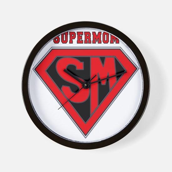 Supermom-redblack Wall Clock