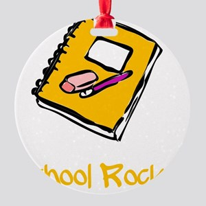 School Rocks Yellow Round Ornament