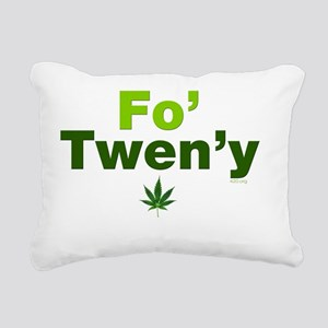 fo-tweny-green-on-white Rectangular Canvas Pillow
